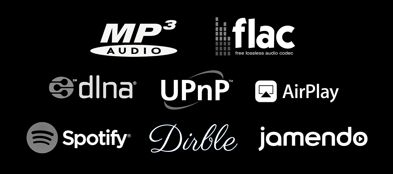MP3 Flac DLNA UPnP AirPlay Spotify Dirble Jamendo